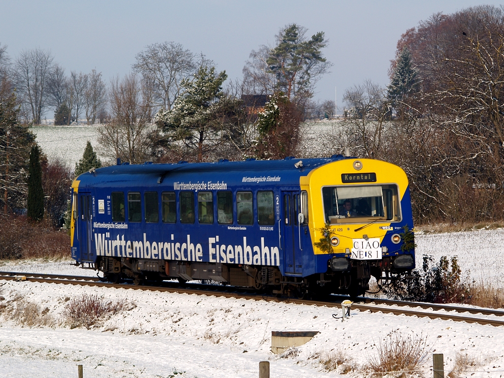 Der Abschiedszug beim Haltepunkt Gymnasium Korntal Foto: Jiří 7256 – 1024×768